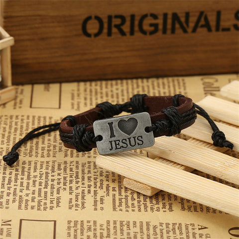 Adjustable Leather Charm Bracelet 'I Love Jesus' - Bold and Beautiful