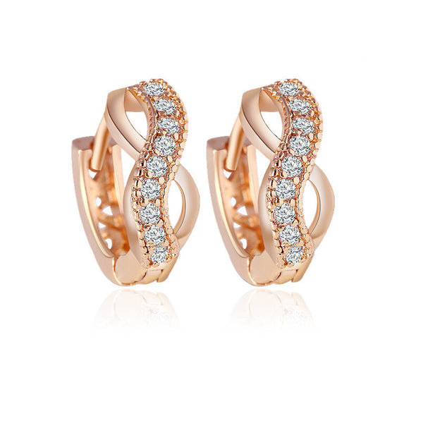 Plated Zircon Crystal Gold Earrings For Women - Bold and Beautiful