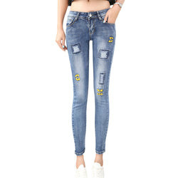 The Vincii Ripped Pencil Denim Jeans - Bold and Beautiful