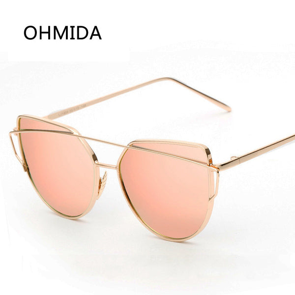Twin-Beam Rose Gold Metal Mirror Lens Sunglasses - Bold and Beautiful