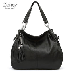 ZENCY Brand Bags Famous Brands 100% Genuine Leather Soft Cow Leather Bag Women Handbag Shoulder Tote Messenger OL Bag - Bold and Beautiful