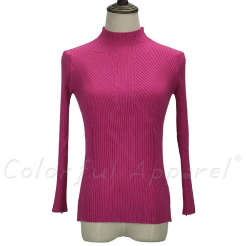 Knitted Sweater Long Sleeve Turtleneck - Bold and Beautiful
