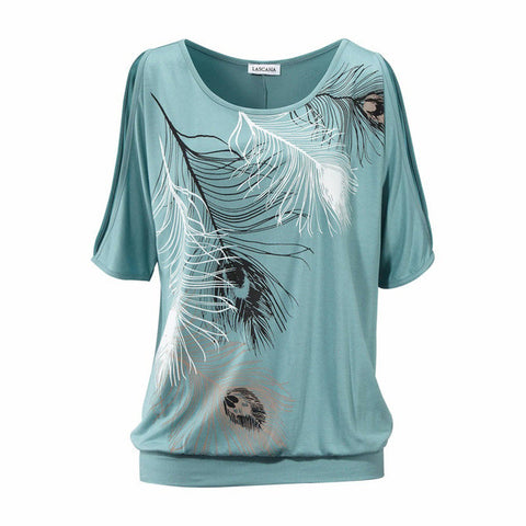Feather Print Short Sleeve Off Shoulder Round Neck Loose Blouse - Bold and Beautiful