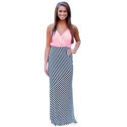 The Rollo Halter Striped V-Neck Maxi Dress - Bold and Beautiful