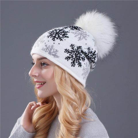 Rabbit Fur Knitted Pom Pom Skullie - Bold and Beautiful