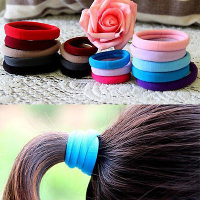 Elastic Hair Rope Ring Hairband Ponytail Holder - 10 pcs - Bold and Beautiful