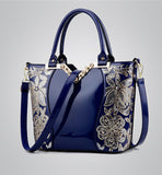 Brand New Elegant Floral Sequins Patented Leather Shoulder Bag - Bold and Beautiful