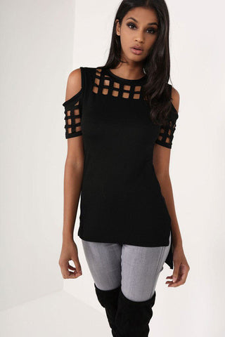 The Gladys Off Shoulder Slim Hollow Out Blouse - Bold and Beautiful