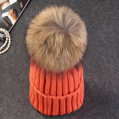 56ad7eb878625 ... Xthree mink and fox fur ball cap pom poms winter hat for women girl  s  ...