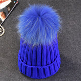 Xthree mink and fox fur ball cap pom poms winter hat for women girl 's hat knitted  beanies cap brand new thick female cap - Bold and Beautiful