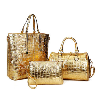 3Pcs Luxury Alligator Crocodile Women Leather Handbag Set - Bold and Beautiful