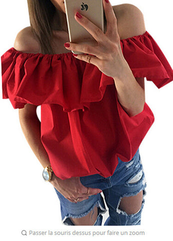 Off the Shoulder Elastic Slash Neck Casual Blouse - Bold and Beautiful