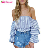 Off Shoulder Ruffle  Blue Striped Blouse - Bold and Beautiful