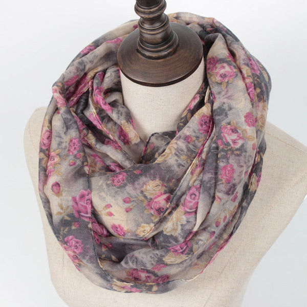 Flower Loop Rose Print Chevron Ring Scarf - Bold and Beautiful