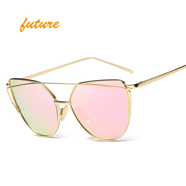 Cat Eye Designer Metal Reflective Mirror SunGlasses For Women - Bold and Beautiful