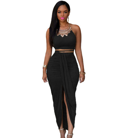 Two Piece Slit Draped Maxi Dress