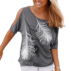 The Libre Off Shoulder Feather Print Blouse - Bold and Beautiful