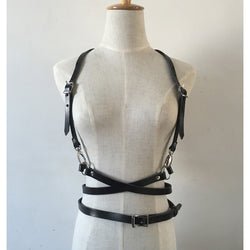 Fashion Punk Harajuku O-Ring Garters Faux Leather Body Bondage Cage Sculpting Harness Waist Belt Straps Suspenders Belt - Bold and Beautiful