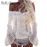 100% Cotton Cold Off Shoulder White Lace Flare Sleeve - Bold and Beautiful
