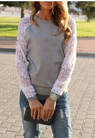 Long Sleeve Lace Patchwork Blouse - Bold and Beautiful