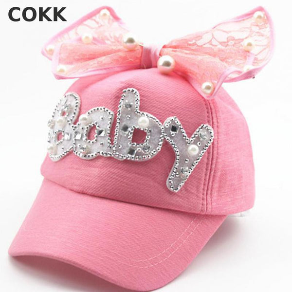 Kids Pearl Flower Bow Peak Adjustable Snapback Baseball Cap - Bold and Beautiful