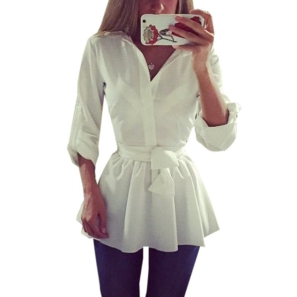Long Sleeve Lapel Belted Pleated Blouse - Bold and Beautiful