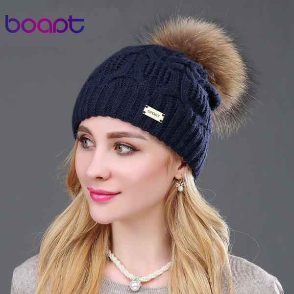 Double-deck Knitted Natural Raccoon Fur Pompon Skullie - Bold and Beautiful