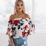 Chiffon Kimono Half Sleeve Off Shoulder Blouse - Bold and Beautiful