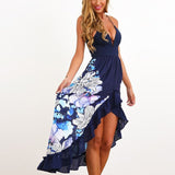 2017 New Sexy Women Straps V-neck Maxi Summer Dress Boho Ladies Floral Print Irregular Hem Ruffles Long Beach Dresses Vestidos - Bold and Beautiful