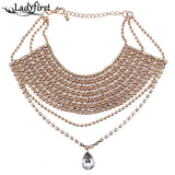 Ladyfirst Luxury Collar Chokers Necklace&Pendant Layer Wide Collier Maxi Boho Wedding Brand Bijoux Statement Women Hot Sale 3982 - Bold and Beautiful