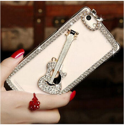 Rhinestone bling crystal clear back cover luxury DIY guitar Crown High heel pattern Diamond 3D phone case for iphone 5 5s SE - Bold and Beautiful