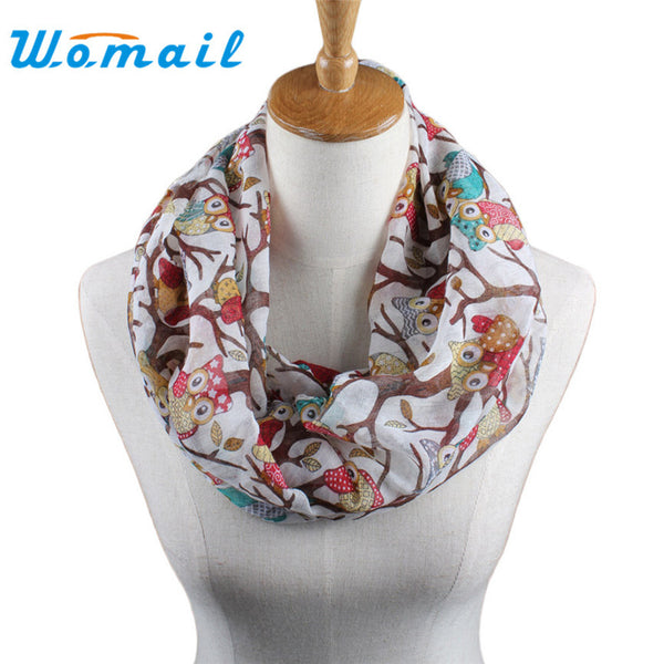 Owl Cartoon O Neck Print Scarf Wrap - Bold and Beautiful