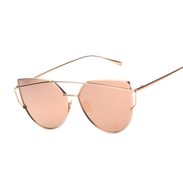 Cat Eye Flat Rose Gold Vintage Mirror Women Sunglasses - Bold and Beautiful