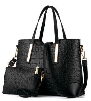 Crocodile Single Strap Cross-body Tote with Clutch - Bold and Beautiful