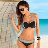 High Waisted Halter Top Push Up Bikini Set - Bold and Beautiful