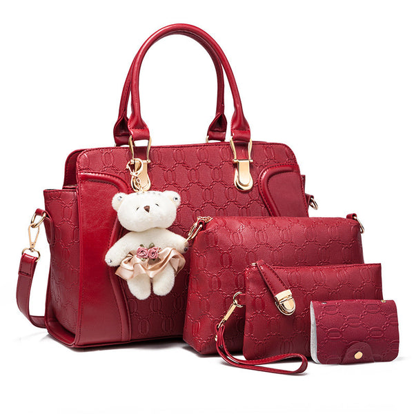Women handbags four sets bag leather bag 4 pieces bag - Bold and Beautiful