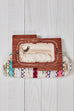 Multi Beaded and Embroidered Wooden Trimmed Clutch