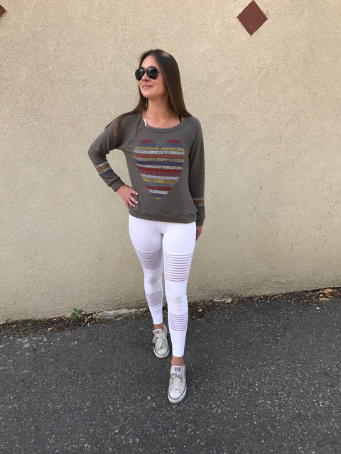 Military Green Hearts and Stripes Sweatshirt