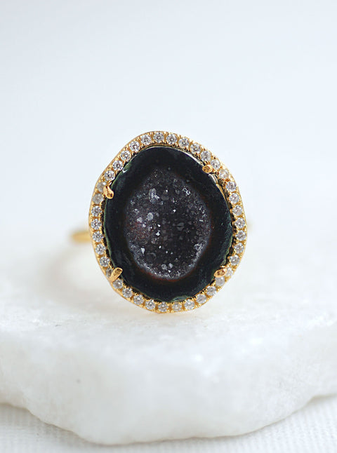 Natural Geode Stone Ring