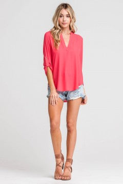 Deep V-neck Blouse