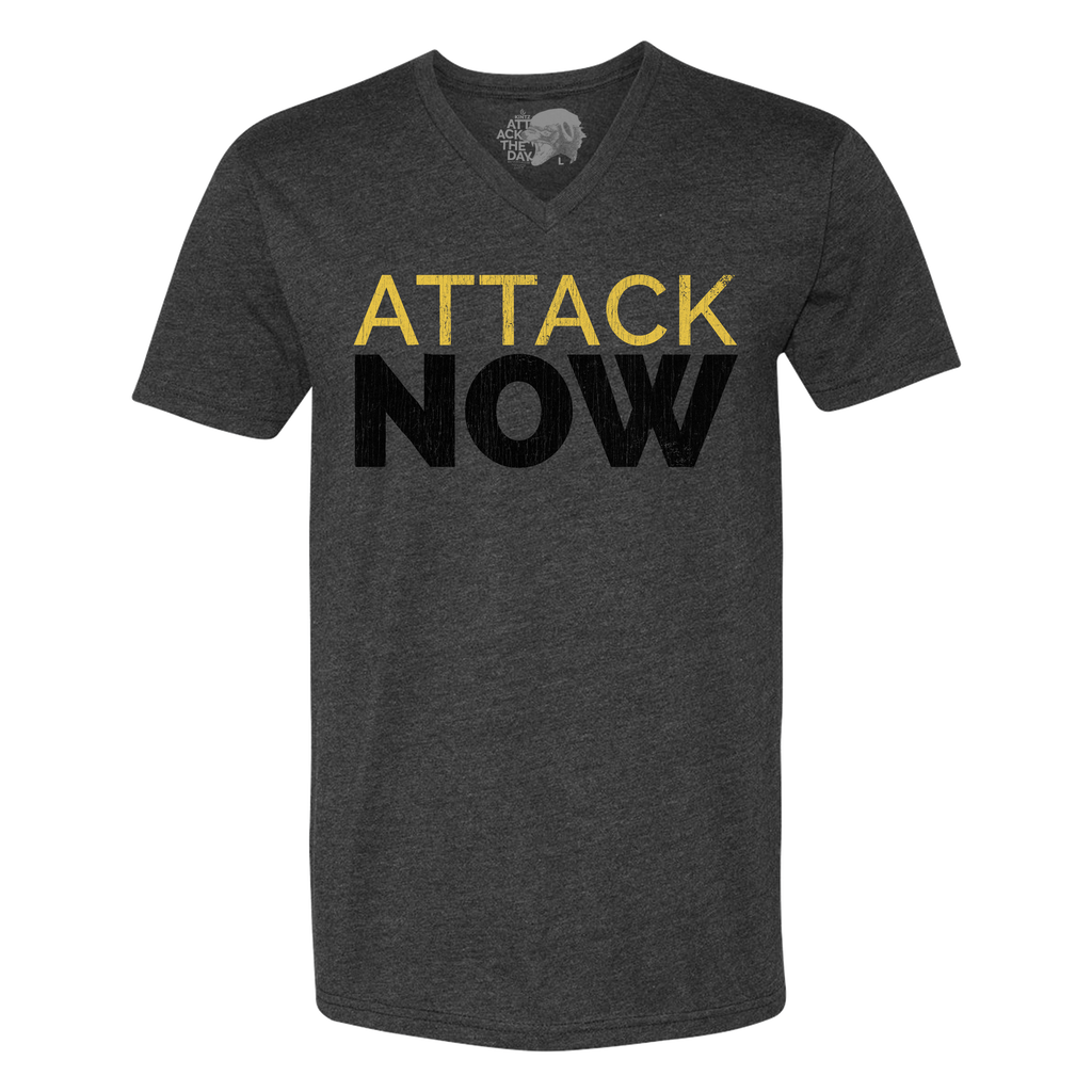 Attack Now Grey V-Neck Tee