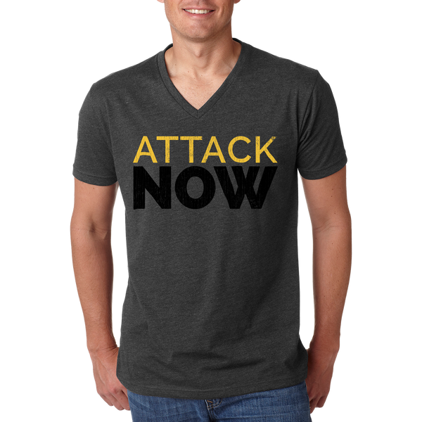 Attack Now Grey V-Neck Tee on Model
