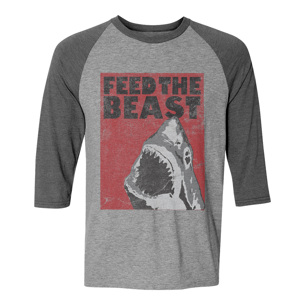 Feed the Beast Shark. Unisex Grey-Grey Baseball Shirt.