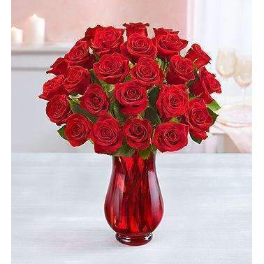 1-800-Flowers Two Dozen Red Roses With Red Vase: Flowers- Shop MIXXCI