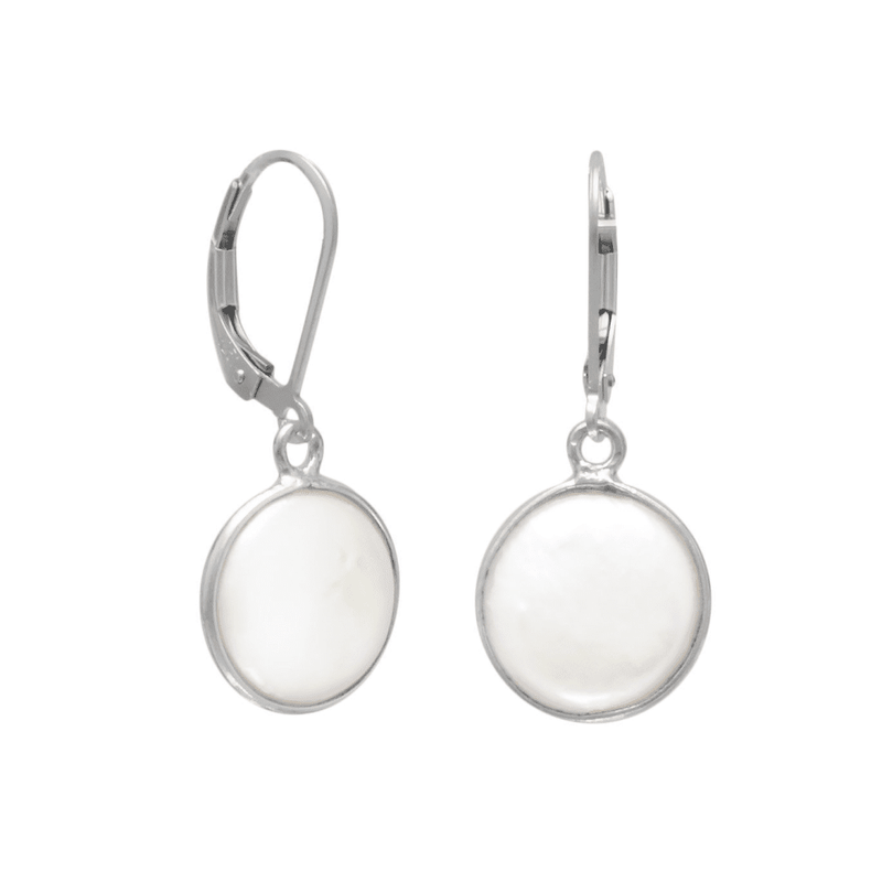 10Mm Cultured Freshwater Coin Pearl Earrings, Default Title: Womens Earrings- Shop MIXXCI