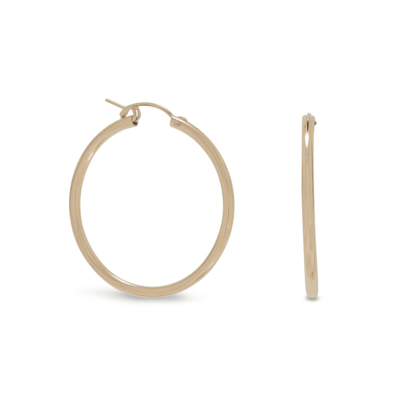 12/20 Gold Filled 2Mm X 34Mm Hoops, Default Title: Womens Earrings- Shop MIXXCI