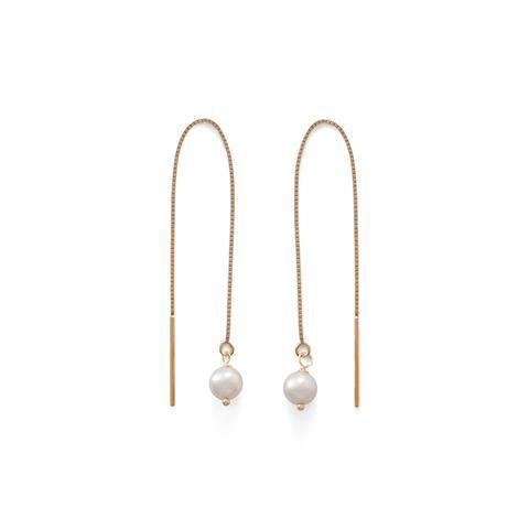 14 Karat Gold Cultured Freshwater Pearl Threader Earrings., Default Title: Womens Earrings- Shop MIXXCI