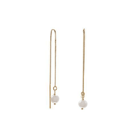 14 Karat Gold Cultured Freshwater Pearl Threader Earrings.: Womens Earrings- Shop MIXXCI