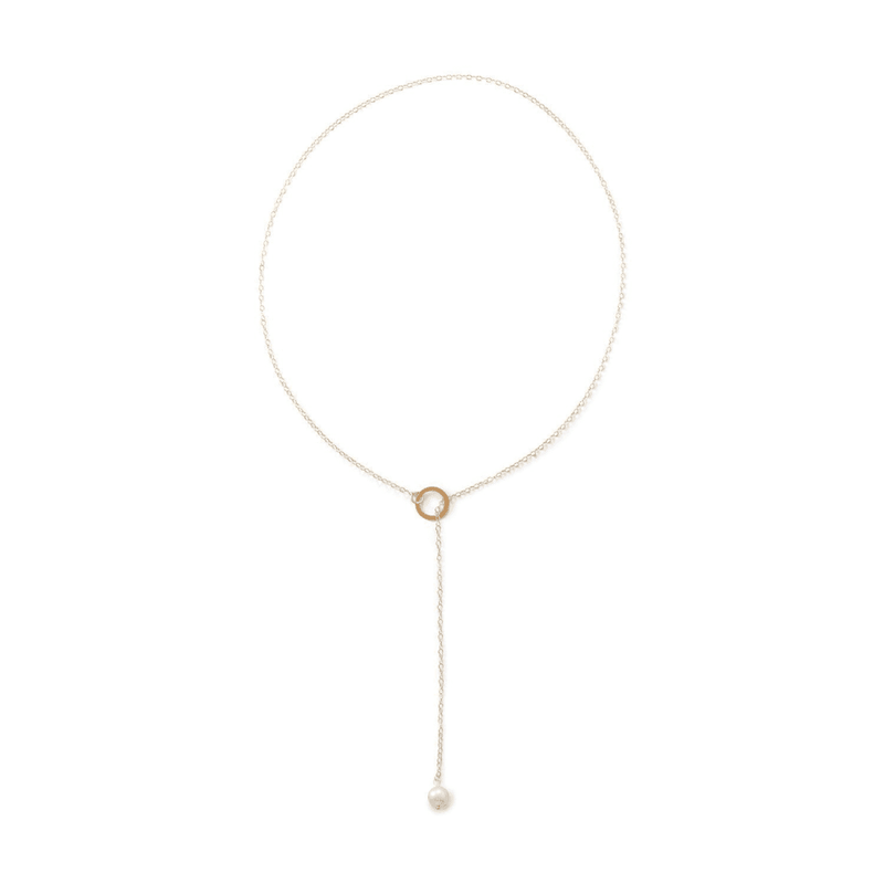 14 Karat Gold Lariat Necklace With Cultured Freshwater Pearl End: Womens Necklace- Shop MIXXCI