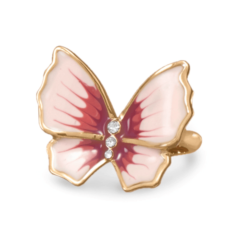 14 Karat Gold Plated Brass Butterfly Ring, 10: Womens Rings- Shop MIXXCI